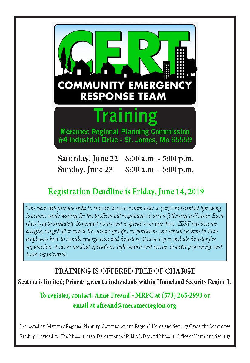 MRPC, HSOC sponsoring Community Emergency Response Team (CERT